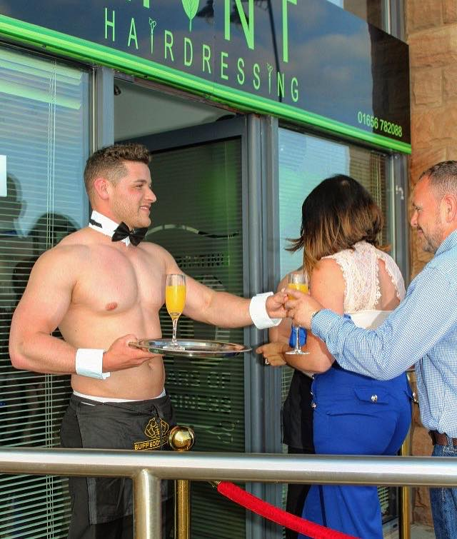 Butlers in the buff Cardiff serving cocktails